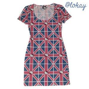 Hello Kitty Union Jack Bodycon Dress Size S